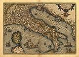 Reproduction Antique Map of Italia, Italy, Corsica, Sardinia and Sicily, (Repubblica Italiana) by Abraham Ortelius A1 Size 78 x 57 cm