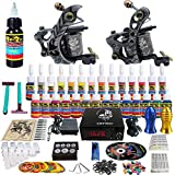Solong Tattoo Complete Beginner Tattoo Kit 2 Pro Machine Guns 28 Inks Power Supply Needle Grips Tips TKB02