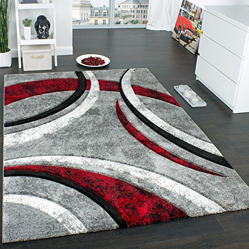 Tappeto Di Design Con Bordo Definito Motivo A Righe Grigio Nero Rosso Screziato, Grösse:60x110 cm