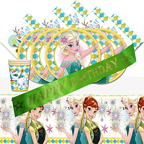 Disney Frozen Fever Elsa Anna Children's Birthday Party Pack for 8 and Happy Birthday Sash