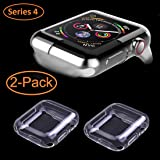 Wolait Compatible with Apple Watch Screen Protector 44mm, Clear Soft TPU Case with Built-in Screen Protector for 44mm Series 4 [2pack] (Color: 44mm Clear)