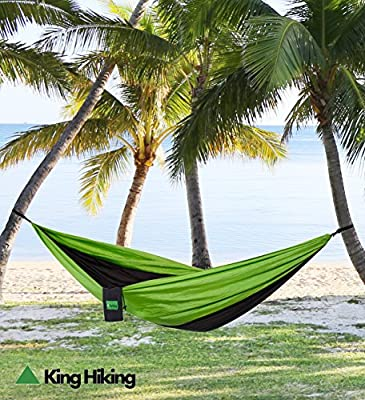 """""""HAMMOCK"""" These parachute nylon hammocks from KING HIKING are great for camping, hunting, traveling and the beach. Also good for a picnic and great for gift ideas. Very portable, compact, ultralight, quick drying and easy to clean. They are made to last w"""