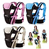CdyBox Adjustable 4 Positions Carrier 3d Backpack Pouch Bag Wrap Soft Structured Ergonomic Sling Front Back Newborn Baby Infant (Pink) (Color: Pink)