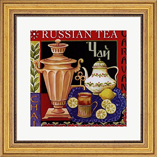 Russian Tea By Helen Vladykina Framed Art Print Wall Picture, Wide Gold Frame With Hanging Cleat, 19 X 19 Inches