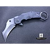 STEC Tactical Karambit Folding Knife with G10 Handle & Fast or Safe Open Kydex Belt Clip Holster