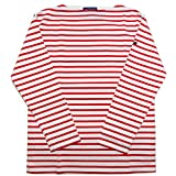 SAINT JAMES セントジェームス ウエッソン ボーダー カットソー ロンT バスクシャツ 長袖インナー メンズ レディース (T1, NEIGE白TULIPE赤)