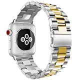 Apple Watch Band, iitee 38mm Stainless Steel iWatch Band Link Bracelet with Adapters for Apple Watch Series 3 Series 2 Series 1 - Silver/Gold