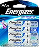 Energizer L91BP-4 Ultimate Lithium AA Battery (4-Pack), Black