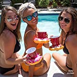 Donut Pool Drink Holder Floats - Fun Floating Inflatable Cup Holders for Pool Party