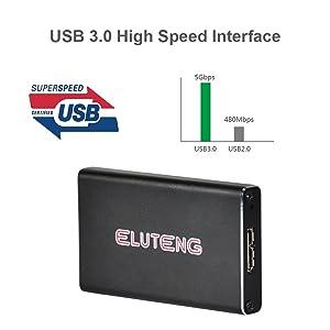 ELUTENG USB mSATA Adapter 3050mm 5Gbps mSATA Enclosure USB 3.0 UASP m-SATA SSD to USB Converter for Samsung SSD mSATA Solid State Drive