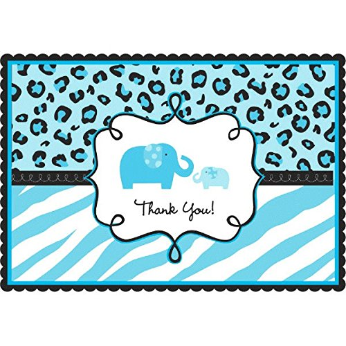 Amscan Sweet Safari Boy Baby Shower Party Postcard Thank You Cards (20 Piece), 4-1/4 x 6-1/4