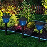 OUTXPRO Electronic Insect Killer Mosquito Bug Zapper LED Solar Powered Garden Lamp Kills Insects and Works Just As a Latern 2 in 1 Zapper and Light (Switch) - 8-10 Hours Pest Control When Fully Charged