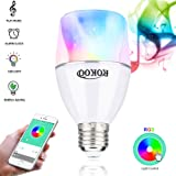 ROKOO LED Music Light Bulb with Bluetooth Speaker E26/E27 9W RGB Color Changing Dimmable Light App Controlled Alarm Setting Bluetooth 4.0 Stereo Audio Bulb for Dating Party Bedroom Bathroom Courtyard