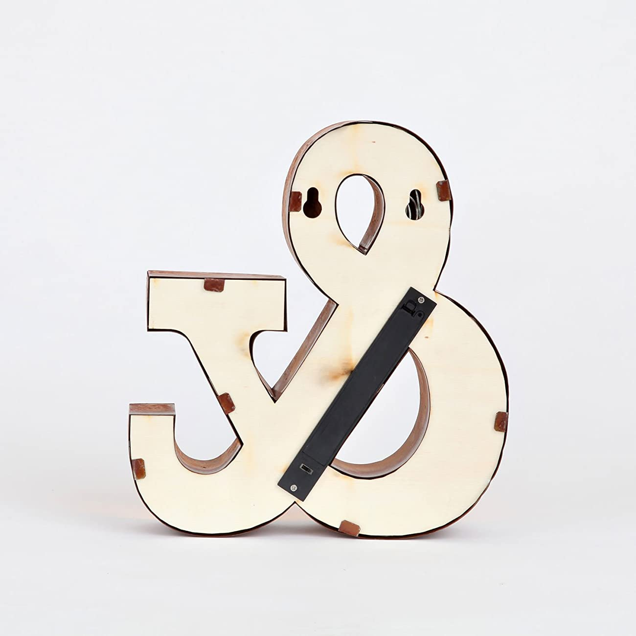 Vintage Lighted Ampersand Symbol Battery Marquee Light with 12 Warm White LEDs, Rustic Metal, Timer Option Available 3