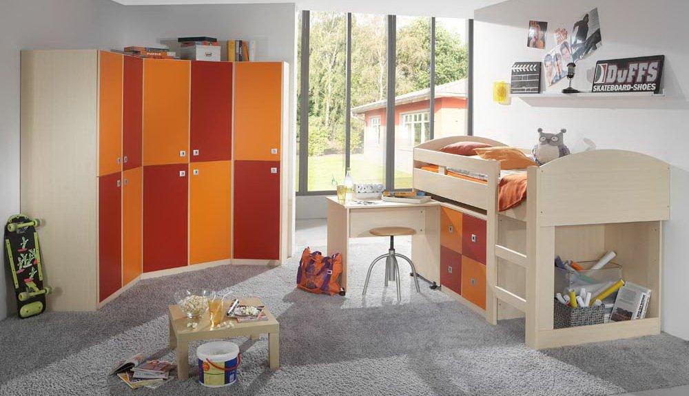 Jugendzimmer 4-tlg. in Ahorn-Nachbildung mit Abs. in orange-rot, 3-tlg. Eckschrankkombination, Hochbett mit Schreibtisch und Kommode B: 204 cm bestellen