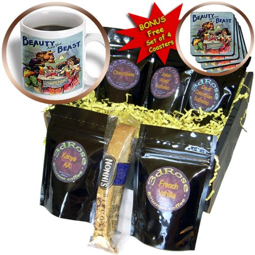 Cgb_171635_1 Florene Fairies - Fantasy - Image Of Vintage Beauty And The Beast In Color - Coffee Gift Baskets - Coffee Gift Basket