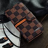 Luxury Brand Designer Brown Checks Leather Cases Covers Wallet for Apple iPhone 5 5G 5S for Men Checkered Checker Plaid Cheap Reviews