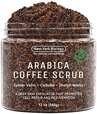 Best Cheap Deal for 100% Natural Arabica Coffee Body Scrub 12 oz with Organic Ingredients - Best for Stretch Marks , Acne , Anti Cellulite & Spider Vein Therapy for Varicose Veins by New York Biology - Free 2 Day Shipping Available