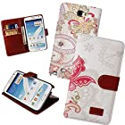 Hue Floral Color Style Subtle Design Wallet Folio Flip Magnet Stand Leather Case Cover with Credit Card Holder for T-mobile Samsung Galaxy Note II N7100 AT&T (Maple#13)
