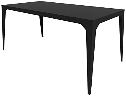 ZHED Ta_CUA_Rect160x80_h75_Reg CUATRO Table Métal Noir Réglisse 160 x 80 x 75 cm
