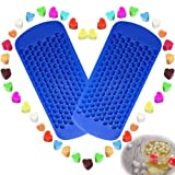150 Grids Mini Silicone Ice Cube Trays Heart Shaped Candy Chocolate Molds, VIWIEU Small Ice Cubes Mold Maker 2 Pack Chill Your Drink Faster,Tiny Ice Works Great for Blender, Kitchen Bar Wine Gadgets (Color: Blue, Tamaño: Mini)