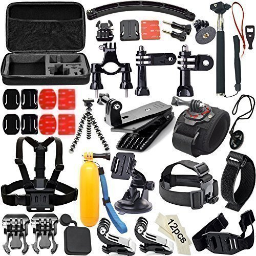 Soft Digits 50 in 1 Accessorio Kit per GoPro Hero4/3/2/1, Accessori per SJ4000/5000/6000/7000,Accessori Della Fotocamera Azione per Xiaomi Yi