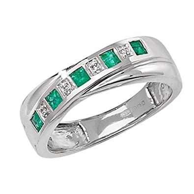 Unique Wishlist 9ct White Gold Emerald & 1pt Diamond Crossover Style Half Eternity Ring *RD259WE