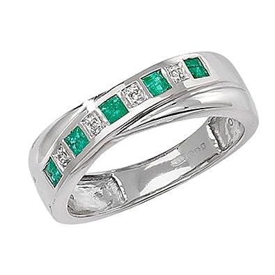 Unique Wishlist 9ct White Gold Emerald & 1pt Diamond Crossover Style Half Eternity Ring *RD259WE