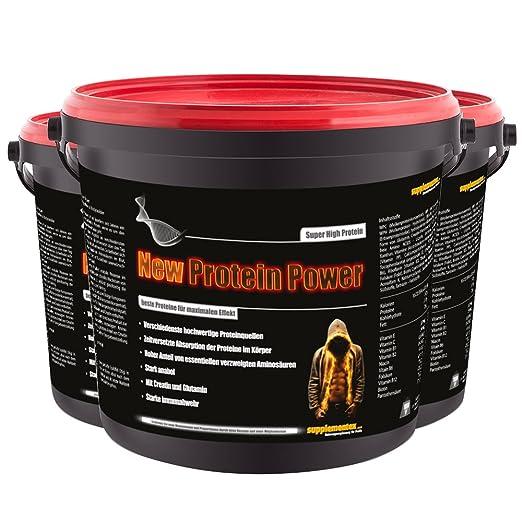 New Protein Power! 3x900g Molkenprotein Eiweißshake Glutamin Anabol Kreatin Aminosäure BCAA Muskelaufbau Geschmack Mandelbiskuit