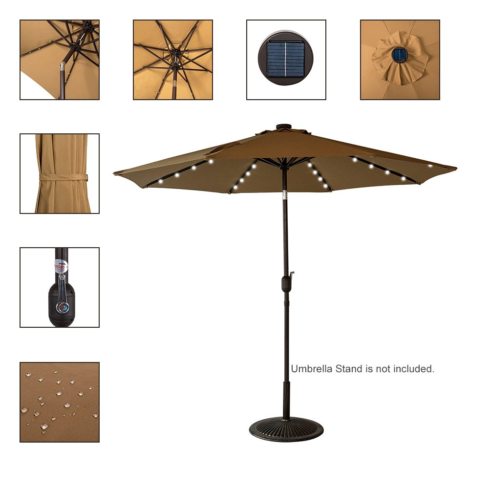 Sundale Outdoor Solar Powered 32 LED Lighted Patio Umbrella Table Market Umbrella with Crank and Push Button Tilt for Garden, Deck, Backyard, Pool, 8 Steel Ribs, 9 Feet, Tan