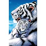 HOT SALE ! 5D Diamond Diy Painting Full Drill Handmade White Tiger Mother Child Under Moonlight Starry Sky Cross Stitch Home Decor Embroidery Kit ?? ZYEE (B) (Color: B)