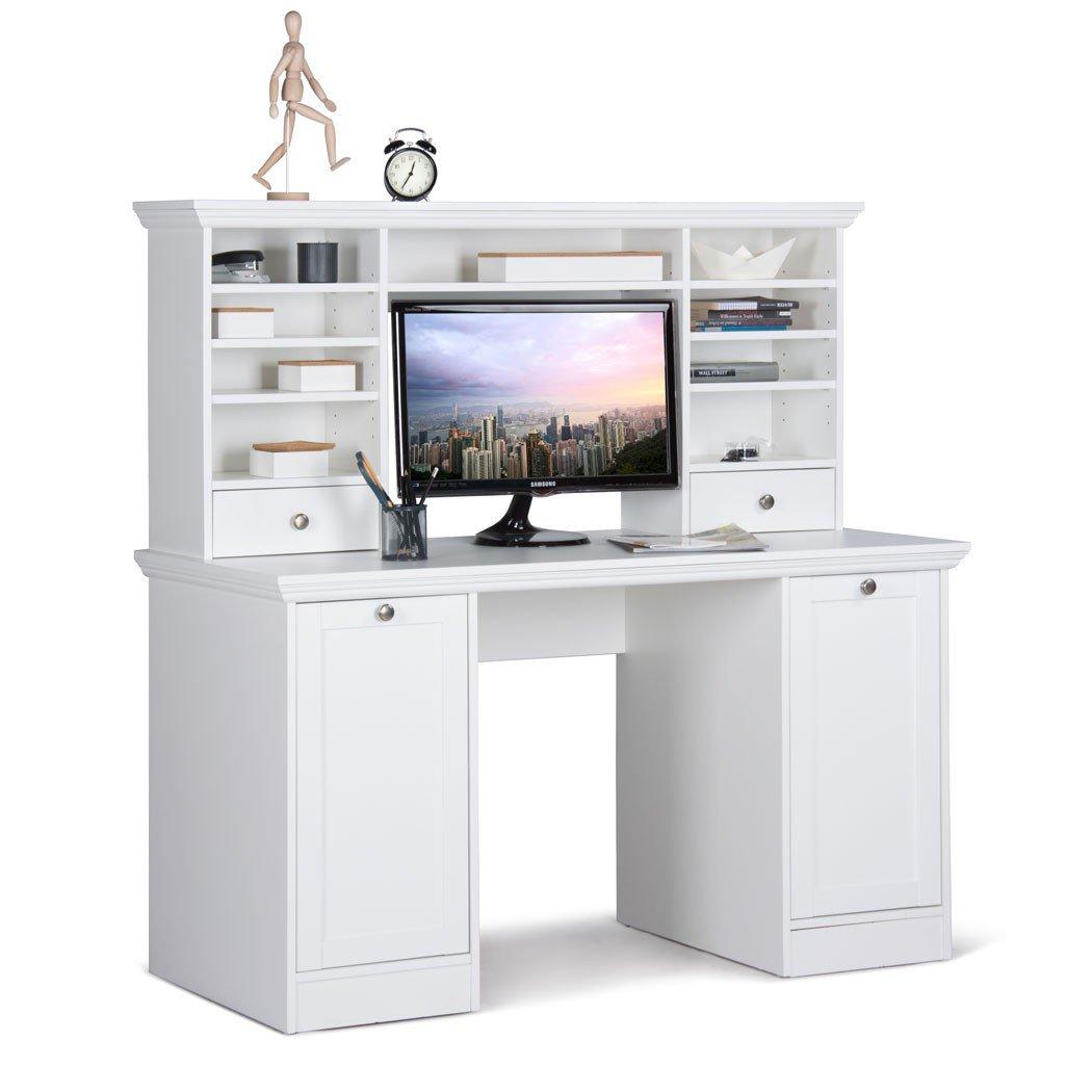 Schreibtisch mit Aufsatz Landström 32 weiß 136x138x63 cm Computertisch Bürotisch PC-Tisch Jugendzimmer Arbeitszimmer Landhausmöbel bestellen