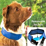 "COOL DOG COLLAR WITH REMOVABLE ICE PACK - SIZE LARGE (FITS NECK 21"" TO 26"")"