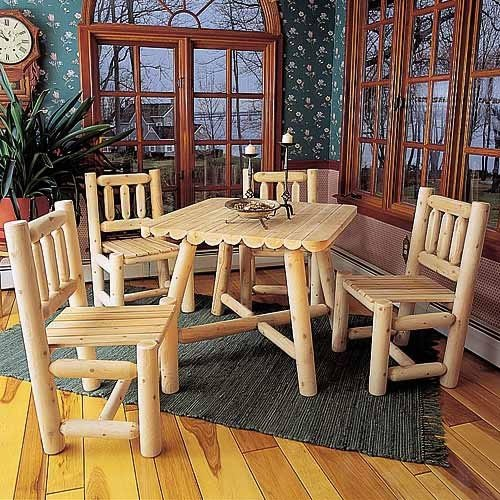 Rustic Natural Cedar Square Dining Group