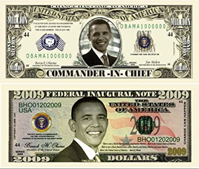 Barack Obama 44th President 2009 Double Collectors Bill Collector Set 1-One Million Dollar Bill and 1-2009 FEDERAL INAUGURAL NOTE 2009 Dollar Bill