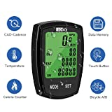 SOON GO Bicycle Speedometer Wireless Bike Computer Cadence IPX6 Waterproof Bike Odometer Speedometer Multi-Functions with Backlight, Temperature, User A/B, Stop Watch, Calorie Counter (Color: Cycling Computer)