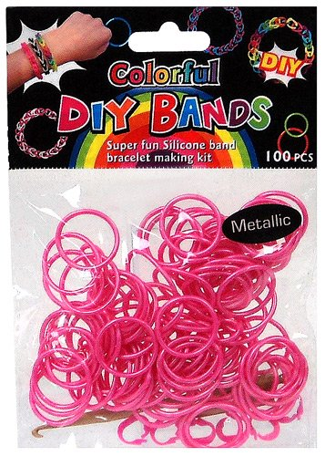 D.I.Y. Do it Yourself Bracelet Bands 100 Metalic Pink Rubber Bands with Hook Tool & Buckles - 1