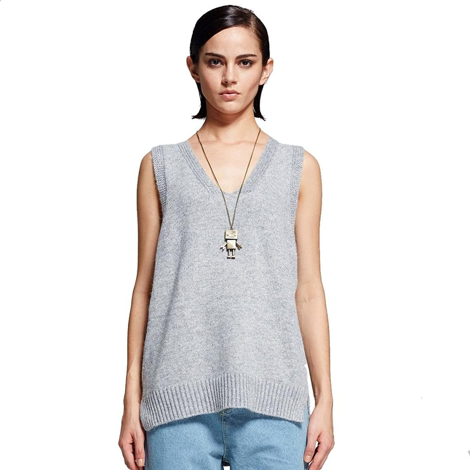 Diamond Candy Women's V Neck Sleeveless Loose Solid Color Knitted Vest
