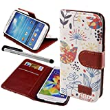 echo'er(TM) PU Leather Credit Card Holder Wallet Flip Stand Case Cover for Samsung Galaxy S4 i9500