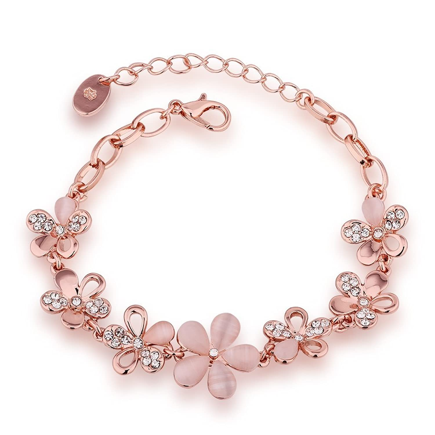 Buy Yutii Rose Gold Crystal Charm Bracelet For Women Online At Low Prices  In India  Amazon Jewellery Store  Amazon
