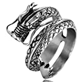 Men's Vintage Gothic Stainless Steel Band Rings Silver Black Chinese Dragon Punk Biker Rings Size 9 (Color: Silver Black)