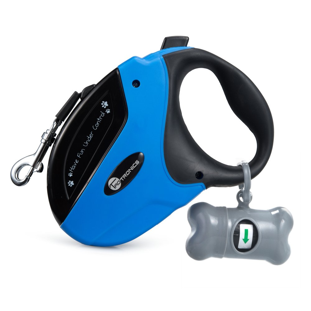Retractable Dog Leash, TaoTronics Pet Leash Dog Lead 16ft for Small Medium Large Dogs up to 110lbs, Tangle Free, One Button Break & Lock + FREE Bone-shaped Cone and Bags or 1 Led Light