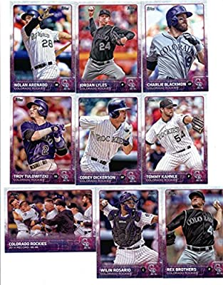 2015 Topps Baseball Cards Colorado Rockies Team Set (Series 1- 9 Cards) Including Charlie Blackmon, Nolan Arenado, Jordan Lyles, Corey Dickerson, Tommy Kahnle, Troy Tulowitzki Team Card, Rex Brothers, Wilin Rosario