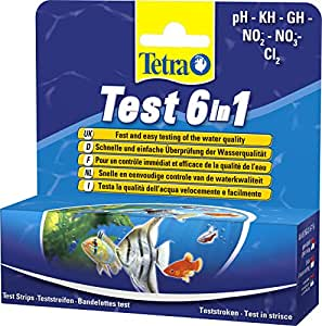 Tetra Test 6 in 1, Wassertest für das Aquarium zur Bestimmung der Wasserqualität (GH, KH, NO2, NO3, pH, CL2) in Sekundenschnelle, Teststreifen pH-Wert Karbonathärte Gesamthärte Härtegrad Nitrit Nitrat Chlor Säure Base Indikator Skala Schnelltest Wasserverhältnisse Wasseranalyse, 1 Packung je 25 Stück