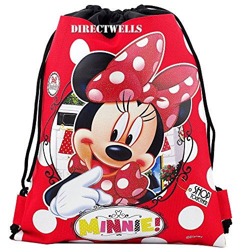 Disney Minnie Mouse Authentic Licensed Drawstring Bag Backpack (Red) (Disney Draw Bag compare prices)