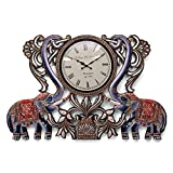 2 Feet Large Handmade Extra Size Large Wall Clock , Decorative Artistic Painted- Wooden Elephant Figurine Wall...