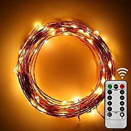 String Lights, Addlon LED Starry flexible Copper wire with Remote 8 Modes 33ft 100leds with AA Battery Powered for Outdoor and Indoor Environments,wedding,christmas Party (Warm White)