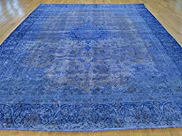 9 x 12 HAND KNOTTED WORN BLUE OVERDYED PERSIAN TABREZ ORIENTAL RUG G23688