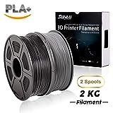 PLA+ Filament 3D Printer Filament,2kg Spool (4.4 lbs) 1.75mm,Dimensional Accuracy +/- 0.02 mm, 2 Packs (Black + Grey) by SUNLU (Color: PLA+Black-Grey)