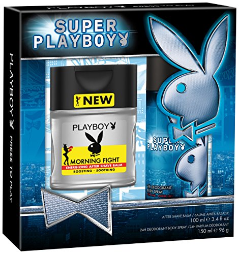 Super Playboy for Men: 100ml Morning Fight After Shave Balm and 150ml Deo Spray by Playboy